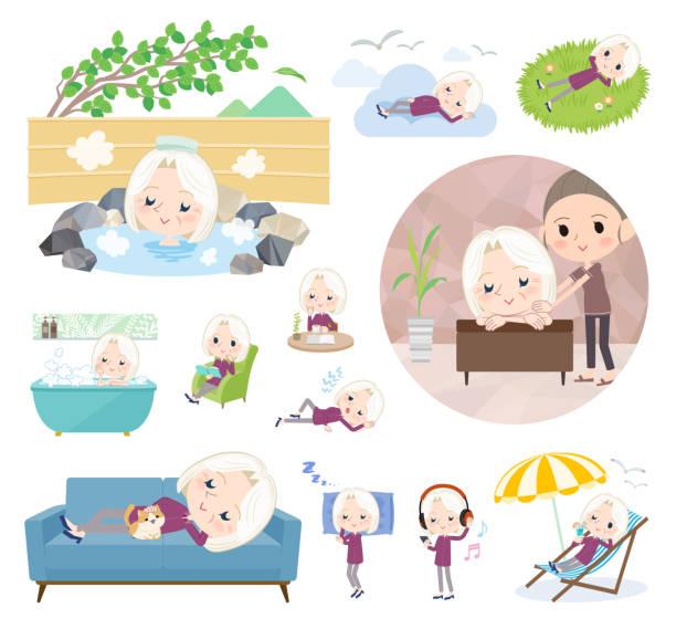 bildbanksillustrationer, clip art samt tecknat material och ikoner med lila skjorta gamla kvinnor white_relax - japanese bath woman