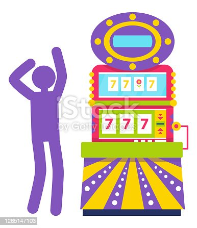 Purple silhouette of man playing colorful slot machine. Gambling vector, lucky seven, jackpot symbol ,winning money in casino, game of chance vector. Machine for gambling and winning money