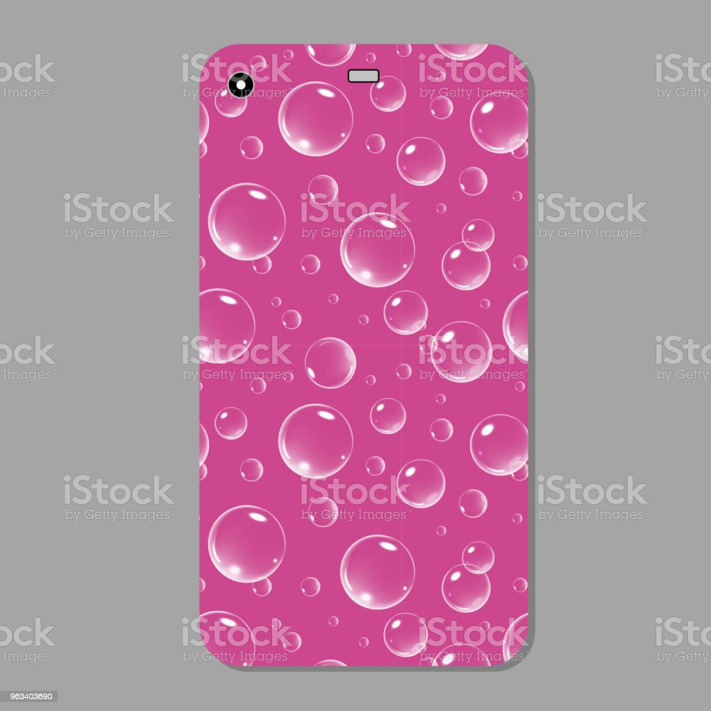 Fioletowa, musująca obudowa na telefon. Fioletowy szablon pokrywa smartfon z bąbelkami. Ilustracja wektorowa - Grafika wektorowa royalty-free (Abstrakcja)