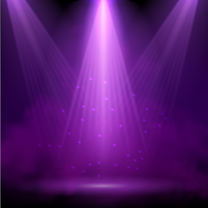 Purple spotlight. Bright lighting with spotlights of the stage with purple ducst on transparent background