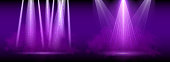 Purple spotlight. Set of bright lighting with spotlights of the stage with purple ducst on transparent background