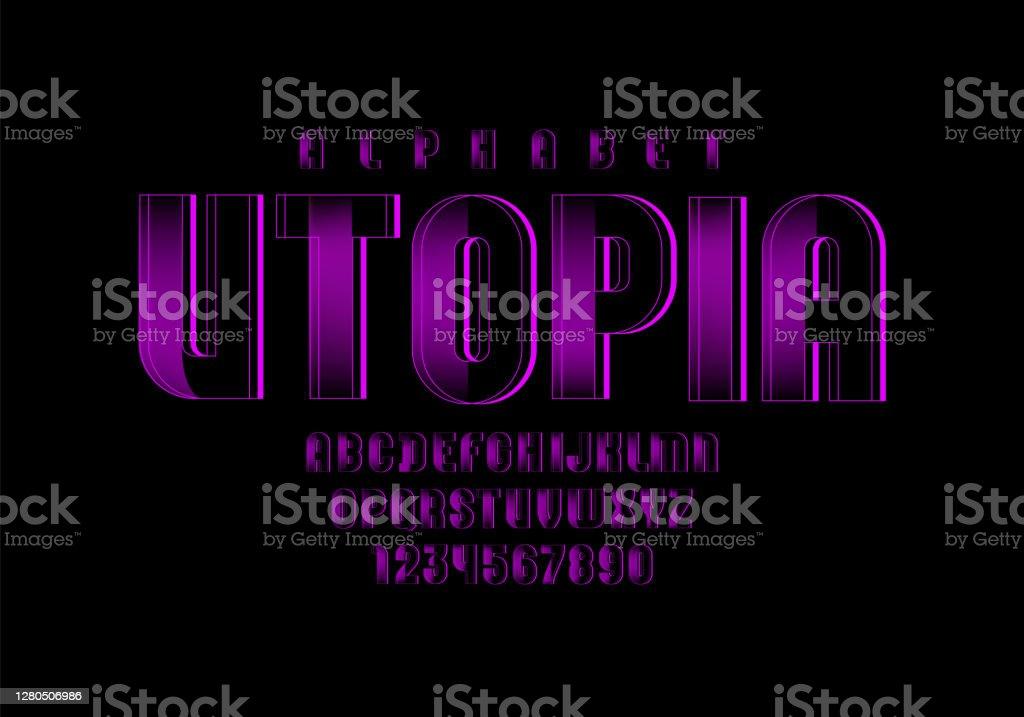 紫色技術字體,數位字母,字母(A,B,C,D,E,F,G,H,I,J,K,L,M,N,O,P,Q,R,S,T,U,V,W,X,Y,Z)和數位(0,1,2,3,4,5,6,7,8,9),向量10EPS。 - 免版稅互聯網圖庫向量圖形
