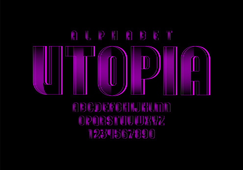 Purple technical font, digital alphabet, letters (A, B, C, D, E, F, G, H, I, J, K, L, M, N, O, P, Q, R, S, T, U, V, W, X, Y, Z) and numbers (0, 1, 2, 3, 4, 5, 6, 7, 8, 9), vector illustration 10EPS