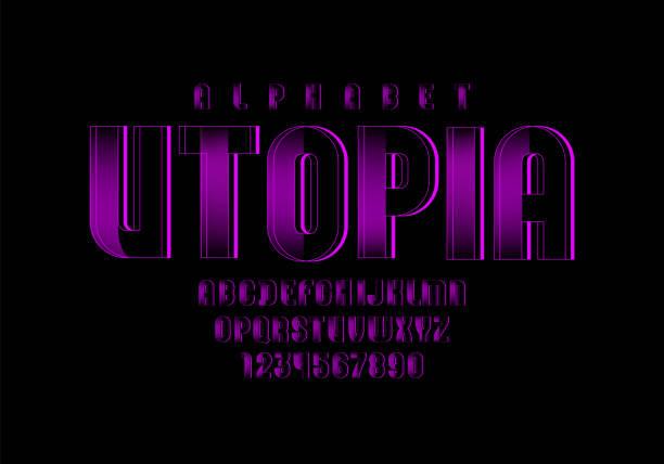 紫色技術字體,數位字母,字母(a,b,c,d,e,f,g,h,i,j,k,l,m,n,o,p,q,r,s,t,u,v,w,x,y,z)和數位(0,1,2,3,4,5,6,7,8,9),向量10eps。 - weihnachten 幅插畫檔、美工圖案、卡通及圖標