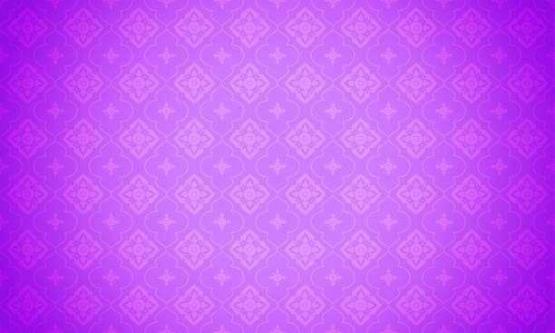 fioletowa ilustracja wektora tła wzoru tajskiego. nowoczesny tajski wzór elementu na jasnofiotycznym tle. - tajlandia stock illustrations