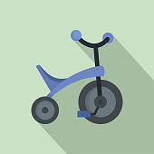 Purple tricycle icon. Flat illustration of purple tricycle vector icon for web design