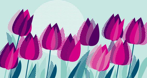 bildbanksillustrationer, clip art samt tecknat material och ikoner med lila tulpan blommor med dot geometri texturmönstret. vektorillustration för surface design, bakgrund, sladd, inbjudan, affisch. - tulpaner