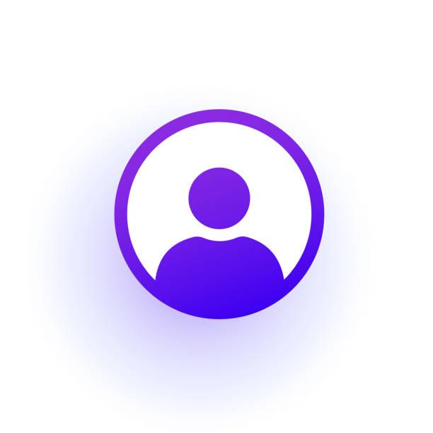 bildbanksillustrationer, clip art samt tecknat material och ikoner med lila användaren ikonen i cirkeln. en solid övertoning. - logga in