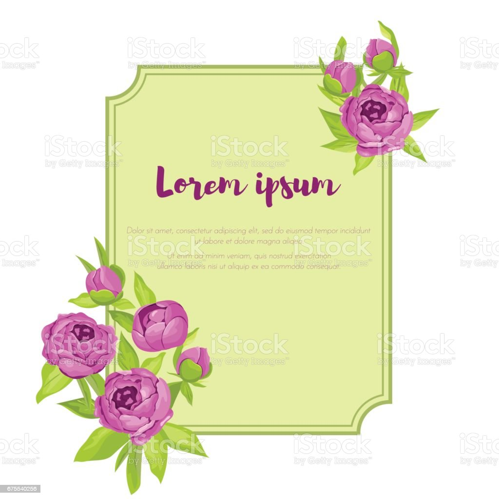 Purple Vintage Peonies Around Frame With Sign For Wedding Invitation