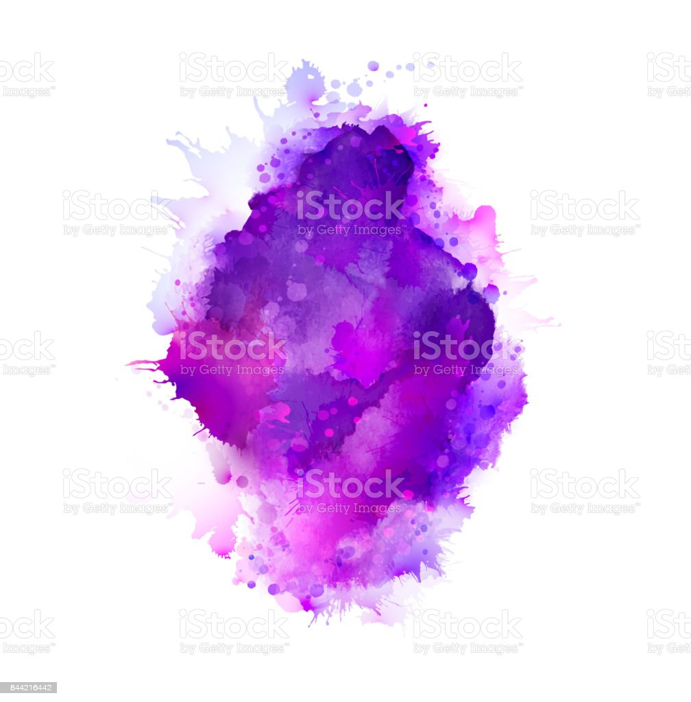 Purple, violet, lilac and blue watercolor stains. Bright color element for abstract artistic background. vector art illustration