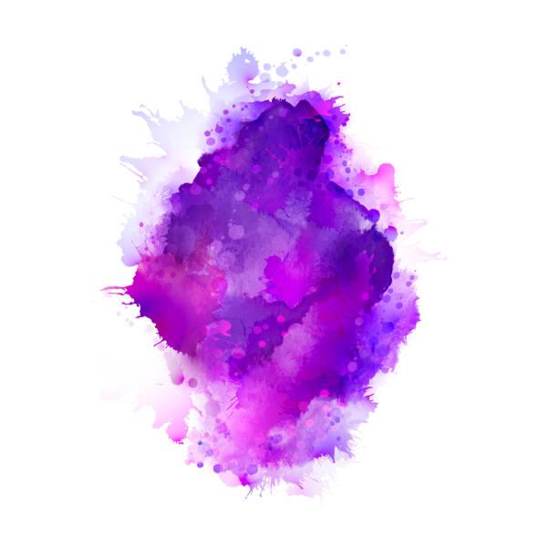 Taches d'aquarelle pourpre, violet, Lila et bleu. Élément de couleur vive pour abstrait artistique. - Illustration vectorielle