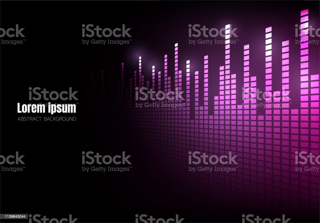 Purple Wave Sound Pixel Equalizer Perspective Background Square Geometric Digital Space Wallpaper Template For Website Cover Poster Banner Brochure