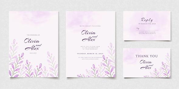 Purple Wedding Invitation Card