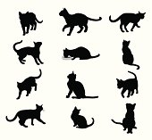 Purring Cats Vector Silhouette