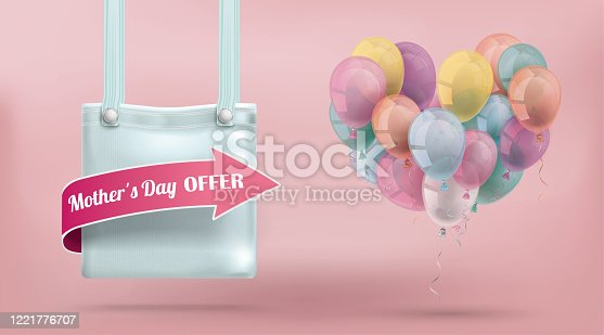 istock Purse Bag Pink Mothersday Offer Pastel Balloons 1221776707
