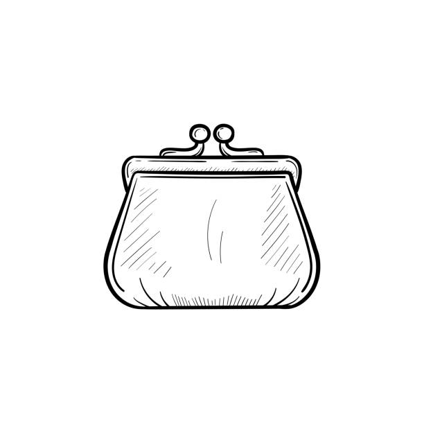 Purse hand drawn sketch icon Vector hand drawn purse outline doodle icon. Purse sketch illustration for print, web, mobile and infographics isolated on white background. change purse stock illustrations