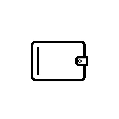 Purse Icon Vector Money Sign Isolated On White Pay Online Mobile Payment Bill Salary Shopping Concept