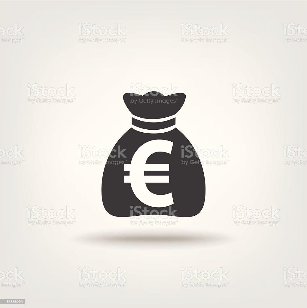Purse money euro sign vector art illustration