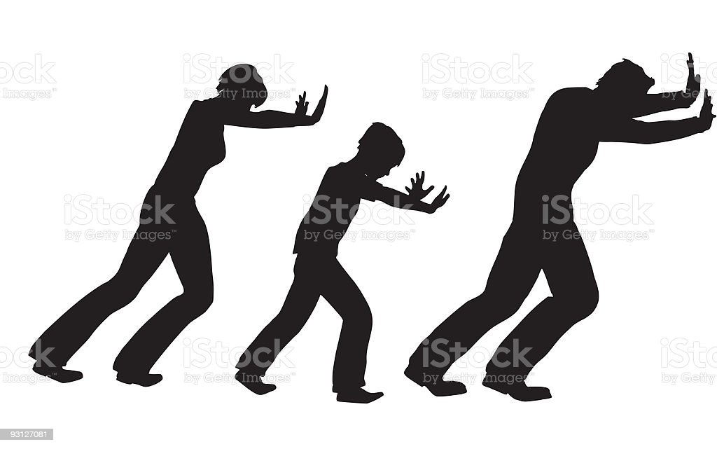 Push family with child vector silhouette vector art illustration