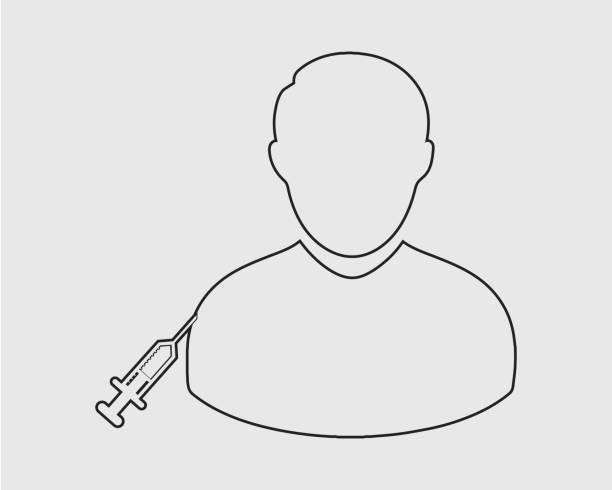 push injection to patient line icon on gray background. - flu shot stock illustrations