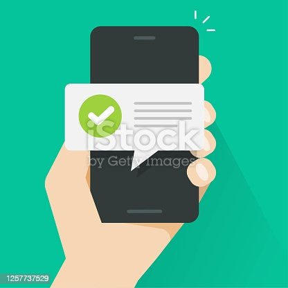 Push notice notification message on mobile phone person, smartphone cellphone sms speech bubble with updated checkmark tick text vector flat cartoon, digital update completion or accepted alerts