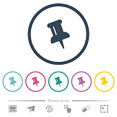 istock Push pin flat color icons in round outlines 1094221296