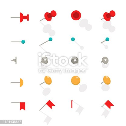 Push pin vector flat icon set.