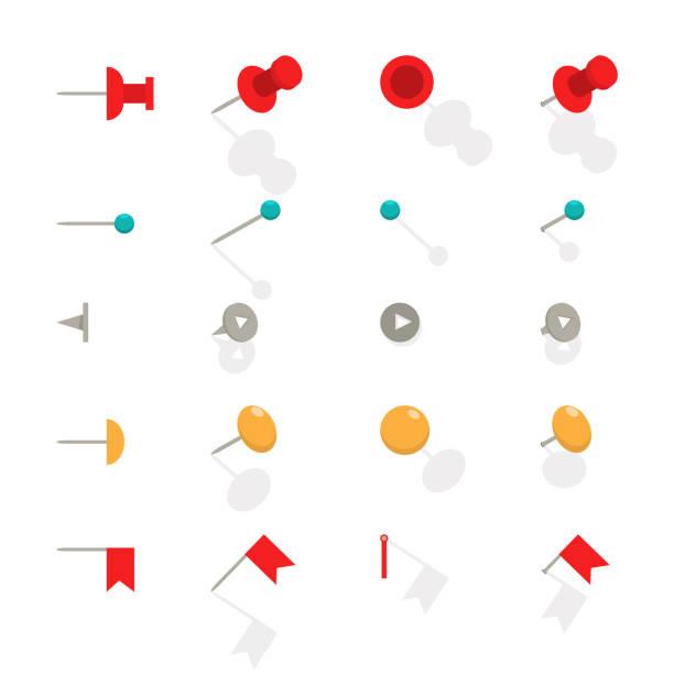 ilustrações, clipart, desenhos animados e ícones de alfinete para mapa. conjunto de ícones plana de vetor de tachinhas escritório isolado em um fundo branco. - fixando