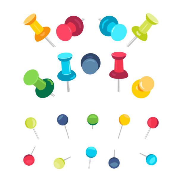 push pins collection - heftzwecke stock-grafiken, -clipart, -cartoons und -symbole