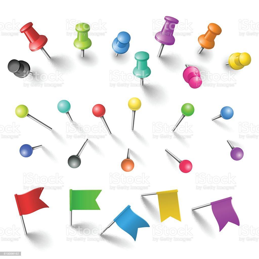 Push pins set vector art illustration