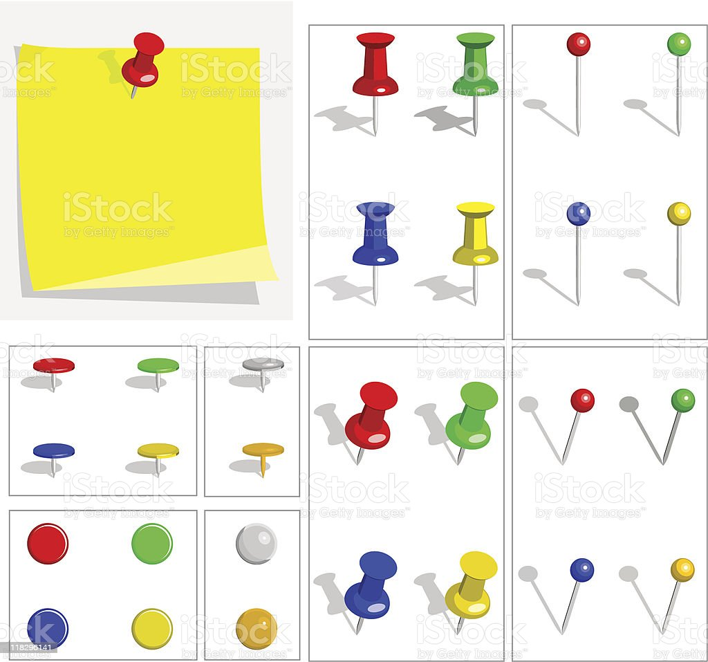 Push pins royalty-free push pins stock vector art & more images of attached