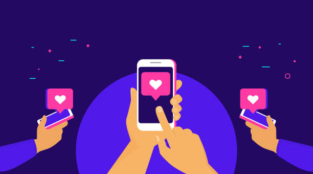 Push the like button for more likes concept flat vector illustration of human hands hold smart phones Push the like button for more likes concept flat vector illustration of human hands hold smart phones and push the heart button on the screen. Social media and speech bubbles with heart symbols オフィス stock illustrations