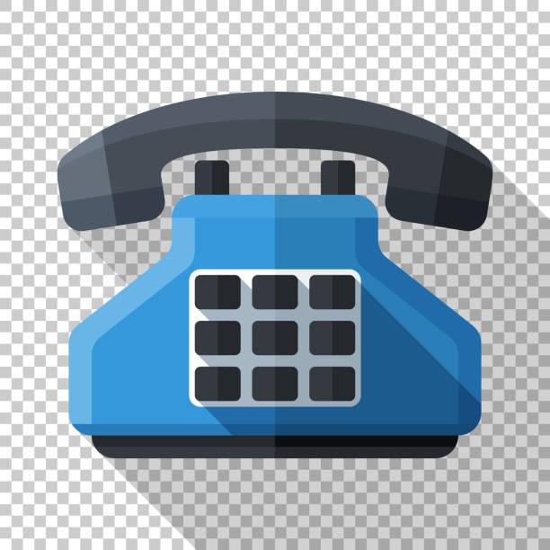 Tastendruck-Telefon-Symbol im flachen Stil mit langem Schatten auf transparentem Hintergrund – Vektorgrafik