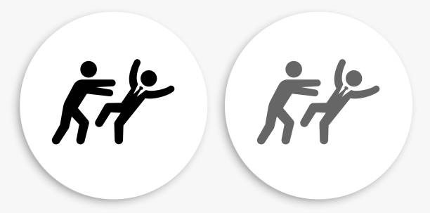 pushing away schwarz-weiß runde icon - vertrauensbruch stock-grafiken, -clipart, -cartoons und -symbole