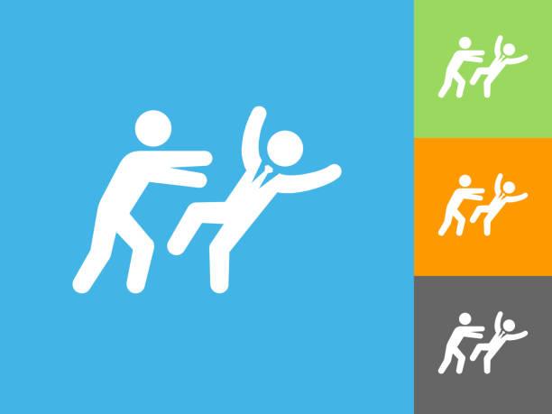 drücken weg flach symbol auf blauem hintergrund - vertrauensbruch stock-grafiken, -clipart, -cartoons und -symbole