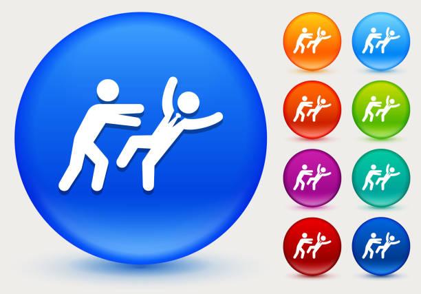 entfernt symbol drücken auf glänzenden farbkreis tasten - vertrauensbruch stock-grafiken, -clipart, -cartoons und -symbole
