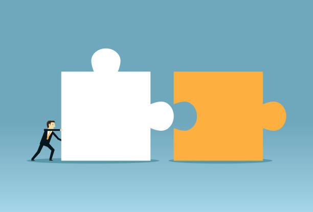 illustrazioni stock, clip art, cartoni animati e icone di tendenza di pushing combine puzzle - facilità