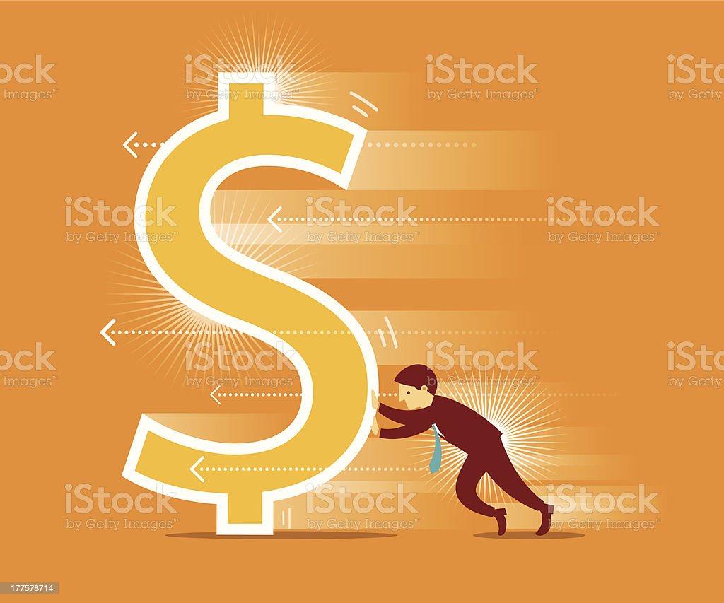 Pushing Dollar royalty-free pushing dollar stock vector art & more images of activity