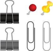 Pushpin, binder and paper clip set