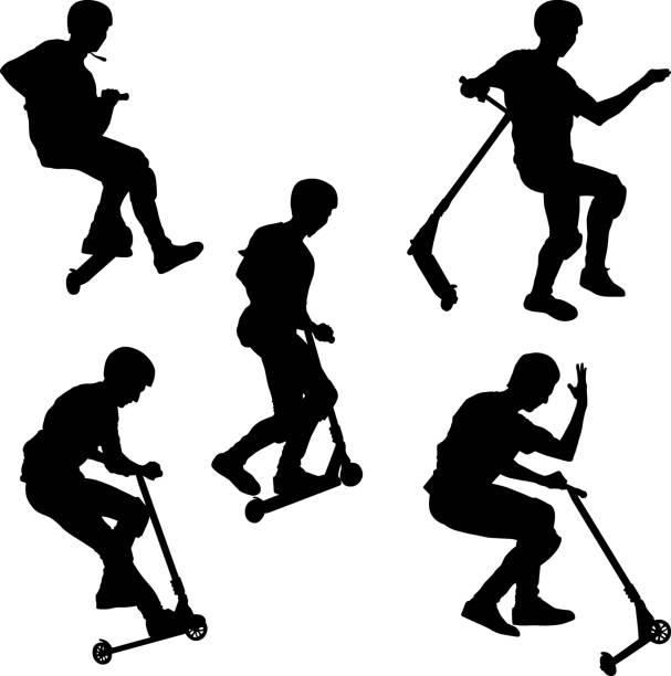 stockillustraties, clipart, cartoons en iconen met push-scooter - step