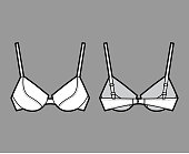 Push-up padded bra lingerie technical fashion illustration with full adjustable shoulder straps, molded cups