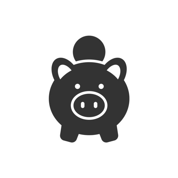 將硬幣放入豬銀行黑色圖示白色背景向量藝術插圖