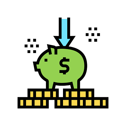 put money in piggy bank color icon vector illustration