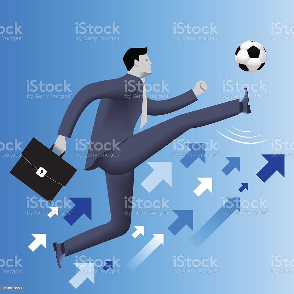 Put the ball in the game business concept vector art illustration
