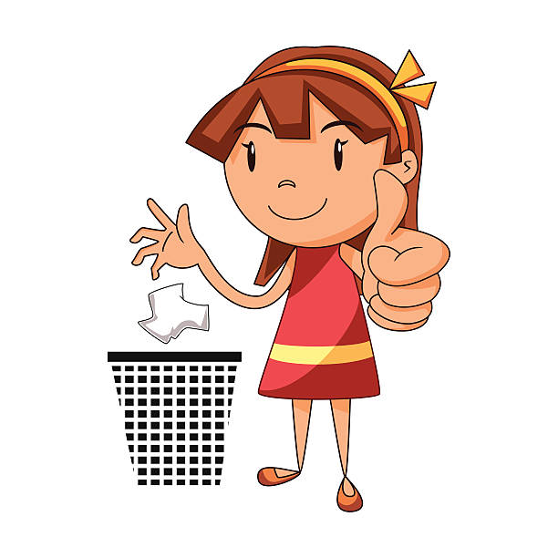 put trash in its place, girl trowing waste - child throwing garbage stock illustrations, clip art, cartoons, & icons