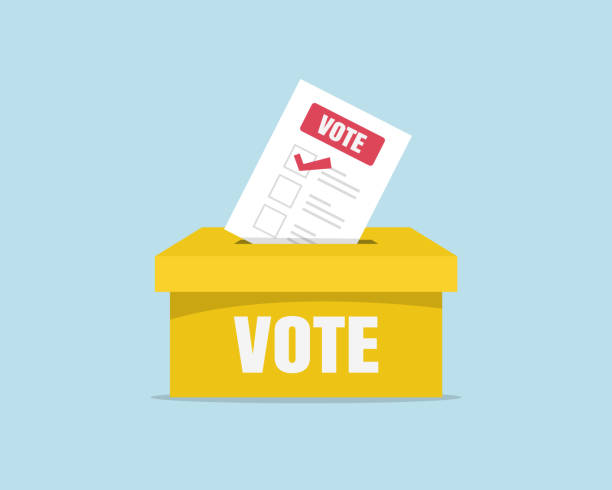 puts voting ballot in ballot box. voting and election concept - vote stock illustrations