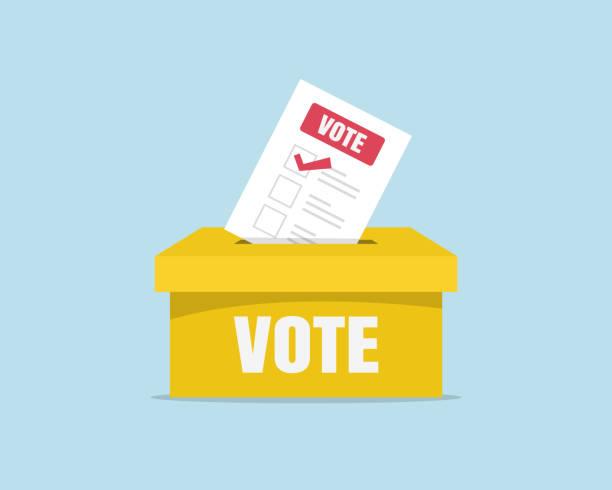 stockillustraties, clipart, cartoons en iconen met stem stembus in stembus plaatst. stem-en verkiezings concept - vote