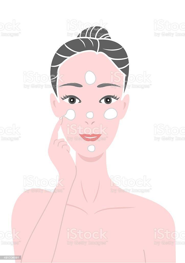 putting face creams vector art illustration