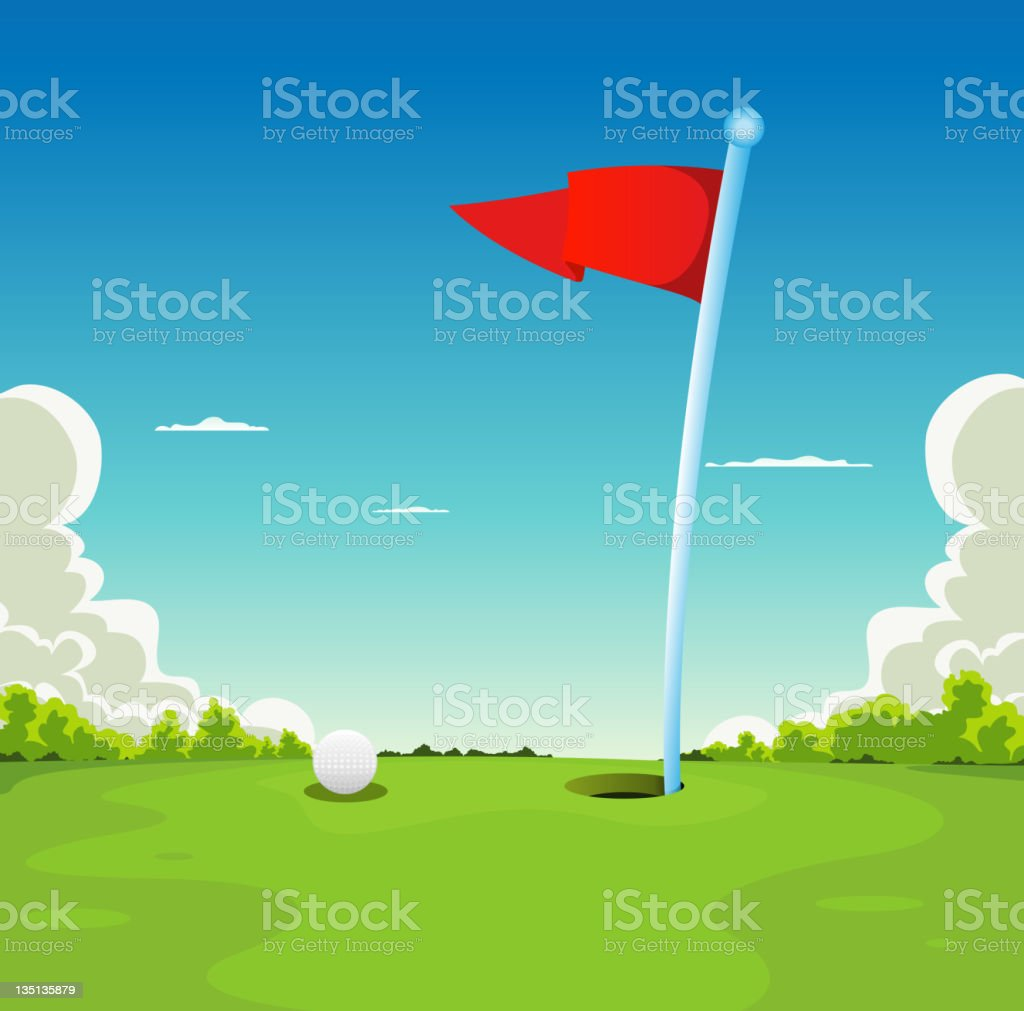 Putting Green - Golf Ball And Flag vector art illustration