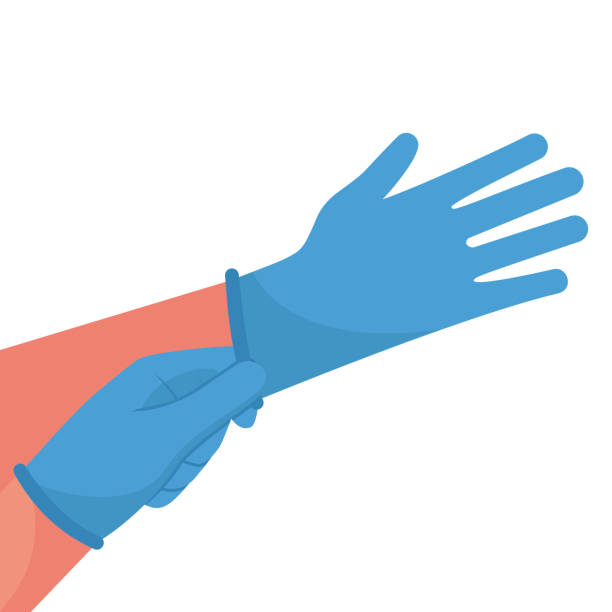 Putting on gloves. Protective latex blue gloves. Symbol of protection against viruses and bacteria. Putting on gloves. Protective latex blue gloves. Symbol of protection against viruses and bacteria. Precaution icon. Vector illustration flat design. Isolated on white background. protective glove stock illustrations